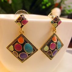 $4.56 Pair of Vintage Chic Beaded Colored Glazed Rhombus Earrings For Women