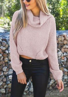 Give yourself a boost of warmth and style by donning this pink cropped cowl neck sweater. It's designed with raglan sleeves, an oversized fit, and ribbed knit. | Lookbook Store Sweaters