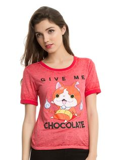Yo-Kai Watch Jibanyan Chocolate Girls Ringer T-Shirt, RED