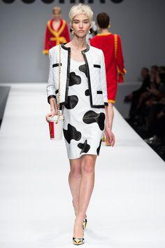 Moschino F/W 2014, cow dress, black and white blazer, heels, bob