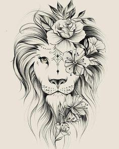 Image could contain: drawing – flower tattoos – best tattoo – flower tattoos designs - tatoo feminina Leo Tattoos, Bild Tattoos, Cute Tattoos, Beautiful Tattoos, Body Art Tattoos, Tattoos For Guys, Awesome Tattoos, Portrait Tattoos, Leo Zodiac Tattoos