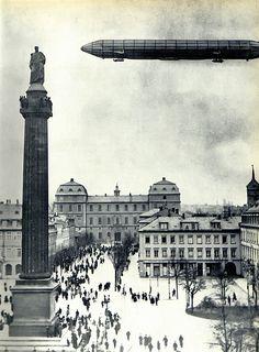 The zeppelin Deutschland over Darmstadt