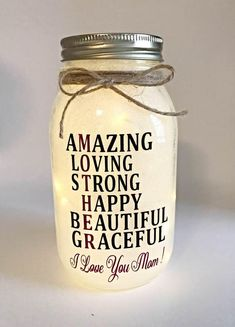 Excited to share the latest addition to my #etsy shop: Christmas Present for Mom, Gifts for Mom, Personalized Christmas gift, Christmas Presents for Mom, Personalized, Mason Jar Light, Nite light
