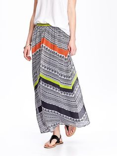 Women;s Chiffon Chevron-Stripe Maxi Skirts | $34.95 | oldnavy.com // Bought this, very cute and comfortable. Fully lined, so no slip needed. Great value.