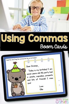 Practice using commas digitally with Boom Cards! Students will read each letter and drag and drop the commas into the appropriate spaces. Examples of comma usage in the greetings and closings of letters and using commas in lists are included. Due to the digital nature of these grammar task cards, students receive immediate feedback and an opportunity to correct incorrect answers. As the teacher, you'll be able to look up detailed reports on their progress! Teaching Second Grade, Second Grade Teacher, 2nd Grade Classroom, 3rd Grade Math, Third Grade, Teaching Vocabulary, Teaching Phonics, Word Work Games, Task Cards