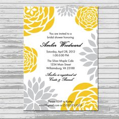 Yellow and Gray Grey Bridal Shower Invitation - customized 5x7 printable - modern flower print yellow and gray bridal shower invites. $8.00, via Etsy.