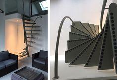 Zoom sur l'escalier 1m2 stairs by EeStairs, un modèle pensé exclusivement pour s'intégrer dans de petits espaces, tout en ayant un certain style