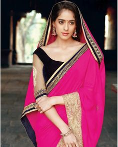 Pink sari with golden embellished border   1. Pink georgette sari 2. Comes with matching unstitched blouse material