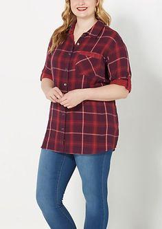 image of Plus Burgundy Plaid Flannel Top