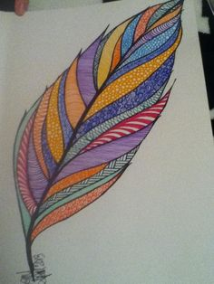 Colored feather doodle 2013