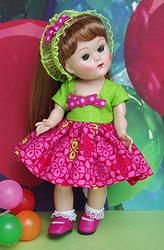 "**CHeRRy BeRRy LiMeaDe** a cute dress, hairband, and matching lime green panties for Vogue Ginny, Muffie, Ginger, or Madame Alexander 7.5"" dolls. Newly created with lime and berry tones and at my website www.karmelapples.com and it's in stock. Click on pix to take you to it! Only ONE set left!"