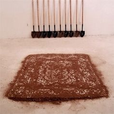 Photo from Cal Lane I mean, how on earth are you going to show your guests your dirt rug, as sculpted here by artist Cal Lane (lovely huh? Painting Collage, Collage Art, Art And Craft Design, Conceptual Design, Environmental Art, Recycled Art, Retro Art, Land Art, Fine Art Photography