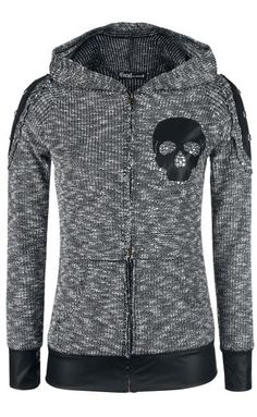 Vocal Skull black and gray hooded sweater