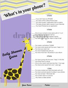 Baby Shower Game-Whats in your phone?-Giraffe Theme
