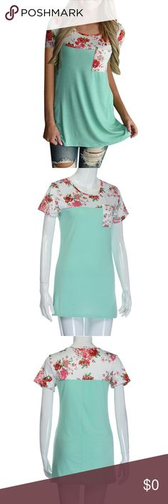 HP❤️JUSY IN❤️Mint t-shirt with floral top Mint green tee shirt with floral top and pocket ❤️host pick 8/12 Everything Plus size Tops Tees - Short Sleeve