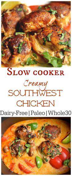 Slow Cooker Creamy Southwest Chicken (Paleo, – Wholesomelicious Super easy and packed with flavor this weeknight dinner is one the whole family will love! Set it and forget it with your slow cooker! Crock Pot Recipes, Paleo Recipes, Real Food Recipes, Cooking Recipes, Crockpot Ideas, Cooking Bacon, Cooking Games, Slow Cooker Recipes Paleo, Paleo Crockpot Meals