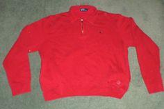 Men's Red Ralph Lauren POLO Long Sleeve Half Zip Hand Pockets Sweater, Size XL #RalphLaurenPOLO #LongSleevePullOverHalfZipSweaterShirt