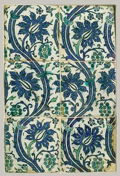 Tile panel with wavy-vine design, Ottoman period (ca. 1299–1923), 16th–17th century  Syria, probably Damascus  Stonepaste; polychrome painted under transparent glaze