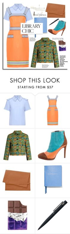 """""""Study Session: Library Chic"""" by faten-m-h ❤ liked on Polyvore featuring RED Valentino, Moschino, Miu Miu, Cheap Monday, Smythson, John Lewis and librarychic"""