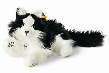 STEIFF Peluche 035852 Gato bosque noruego Negro y Blanco Fluffy Coleccionistas