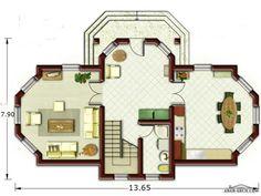 تصميم جميل لفيلا طابقين صغيرة المساحه 13.65*7.90 متر