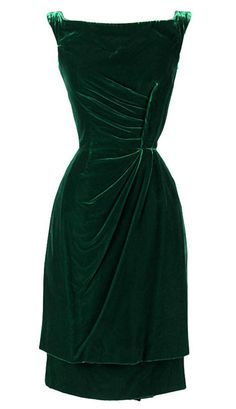 Green velvet cocktail dress, by Ceil Chapman, American, 1950s. Mill Street Vintage