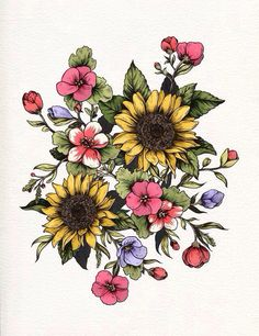 Floral girly tattoo sunflowers