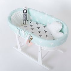 Moises para bebés Nido Tipi mint. Cojín nube