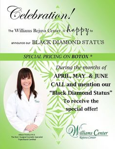"Congratulations to the Williams Rejuva Center for once again achieving ""Black Diamond"" by Allergan, makers of #Botox and #Juvederm. This prestigious honor is given only to the top 1% of practices in the nation! Come celebrate with us with Special Pricing on Botox Cosmetic! Call (518)786-7004 to make your appointment."