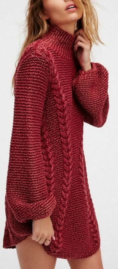 Knit Long Sleeve Dress w Cables - Made to Order This simple, yet stylish dress is hand-knitted in a cotton or wool blend with long, puffy sleeves for comfort and warmth. Contact me for color and measurements. Sweater Knitting Patterns, Hand Knitting, Crochet Patterns, Knit Fashion, Fashion Outfits, Cool Outfits, Fashion Clothes, Womens Fashion, Stylish Dresses