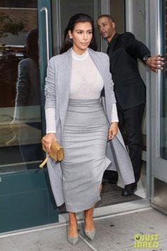 Kim Kardashian wearing Saint Laurent Paris Suede Pump, Saint Laurent Cassandre Suede Crossbody Bag and Celine Fall 2014 Rtw Collection Coat