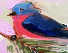 Chickadee no. 922 Original Bird Oil Painting by by prattcreekart