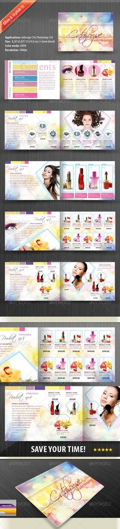 Product Catalog for Women by LeroiV Simply place your own information and have a fine, stylish, ready for print product.This template is suitable for jewelry, perfume Catalogue Design Templates, Catalog Design, Print Templates, Travel Brochure Template, Design Brochure, Banner Design, Layout Design, Print Design, Lookbook Design