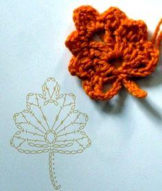 Watch The Video Splendid Crochet a Puff Flower Ideas. Phenomenal Crochet a Puff Flower Ideas. Crochet Leaf Patterns, Crochet Leaves, Crochet Fall, Crochet Diagram, Crochet Chart, Crochet Motif, Diy Crochet, Irish Crochet, Roses Au Crochet