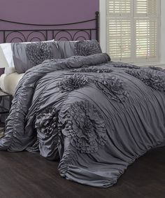 Gray Serena Comforter Set by Lush Décor.  Trying to find something other then purple for my bedroom, kinda liking the gray.