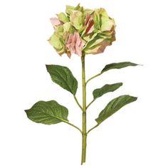 Faux Mop Head Hydrangea Stem - Faded Autumn Pink/Green