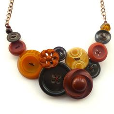 Earth Spice Button Necklace in Rust Orange, Mustard Yellow, and Shades of Brown by buttonsoupjewelry, $35.00
