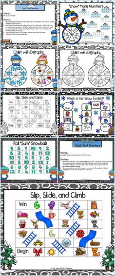Are you looking for NO PREP literacy and math games for pre-k, kindergarten, or first grade? Enjoy this phonics and math resource which is comprised of FIVE different WINTER themed games.  The games can be used for small group work, partner collaboration, or homework!  ALL YOU NEED TO DO IS DOWNLOAD THE GAMES AND PROVIDE MATERIALS SUCH AS DICE, GAME MARKERS, CLIP, PENCIL, AND PAPER.  Children will work on beginning sounds, ending sounds, digraphs, tens frames, and addition while playing. Literacy Games, Kindergarten Games, Classroom Games, Classroom Crafts, Math Games, Primary Classroom, Educational Board Games, Elementary Schools, Elementary Teacher