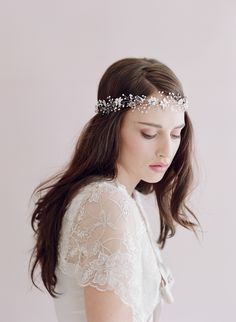 Sparkling crystal leaf and bead hair vine - Style # 421 - Ready to Shi (2014, hair adornments, hair vine, hair vines, headbands, headpieces, ready to ship, twigs and honey, view all)   Headbands   Twigs & Honey ®, LLC