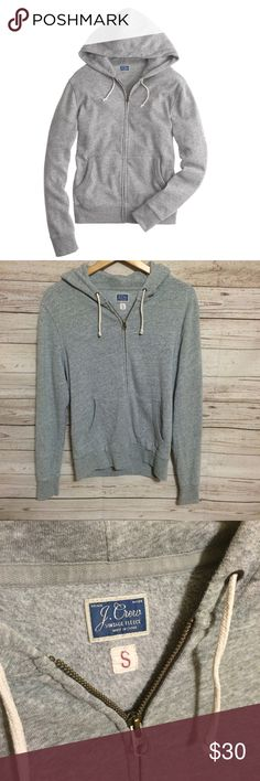 """J. Crew Broken-In Hoodie J.Crew gray hoodie from the """"Vintage Fleece"""" collection is meant to have the broken-in look and feel. Soft and cozy. Relaxed/boyfriend fit. Size small, true to size. Full front zip, pockets and drawstring at hood. J. Crew Tops Sweatshirts & Hoodies"""