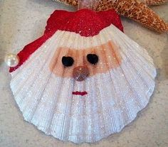 Santa seashell tree ornament