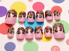 Kawaii nails, Japanese 3D nails, fairy kei, lolita, fake sweets, strawberry, pudding, flan, chocolate, dripping, on Etsy, $20.00