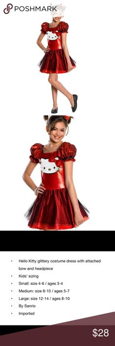 Hello Kitty Glitter costume dress *NWT * Sanrio Hello Kitty Glitter costume dress with attached bow and headpiece !  NWT !  Kids sizing . Small 4-6 ( age 3-4)  Medium 8-10( ages 5-7)   Large 12-14 ( ages 8-10 )  📍📍2 WEEK SHIPPING TIME 📍📍 - Order now for Halloween guaranteed delivery  🎈 Dresses Casual