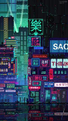 PIXEL ART /// pixel aesthetic / anime / pink aesthetic / purple aesthetic / p. Cyberpunk Kunst, Cyberpunk City, Futuristic City, Cyberpunk Tattoo, Cyberpunk Fashion, Cyberpunk 2077, Futuristic Architecture, Purple Aesthetic, Aesthetic Art