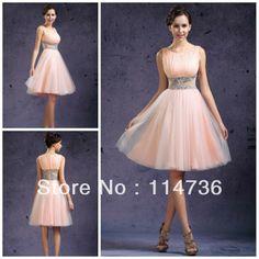 de color rosa perla bateau bola vestido de tul nuevo zip espalda ver a través de hermosos vestidos de