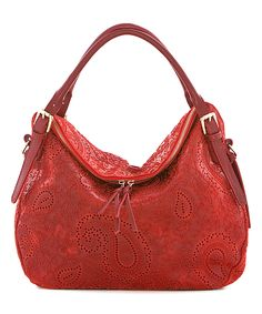 Lucca Baldi Dark Red Paisley Leather Fold-Over Hobo | zulily