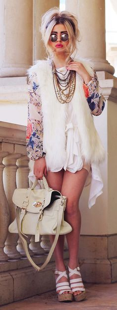 Chicwish Faux Fur Vest in White: do not walk the streets in this outfit.