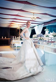 """vogue: """" Model Caroline Trentini Photographed by Thiago Bellini in a Wedding Dress Designed by Olivier Theyskens """" Vogue Wedding, Chic Wedding, Wedding Bride, Wedding Day, Wedding Reception, Wedding Wishes, Spring Wedding, 1960s Wedding, Dream Wedding"""
