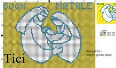 Schema punto croce piccolo Presepe monocolore
