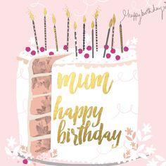 "Beautiful birthday card featuring a birthday cake, with caption: ""Happy birthday mum"""